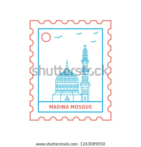 MADINA MOSQUE postage stamp Blue and red Line Style, vector illustration
