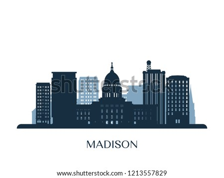 madison skyline  monochrome