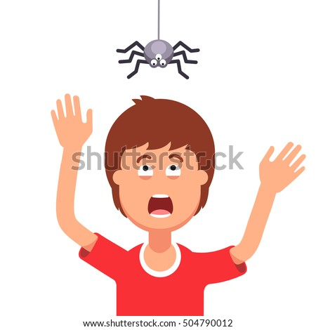 Madly frightened man. Boy afraid of a spider hanging from the top. Arachnophobia panic attack. Halloween prank concept. Colorful flat style cartoon vector illustration. Stock foto ©