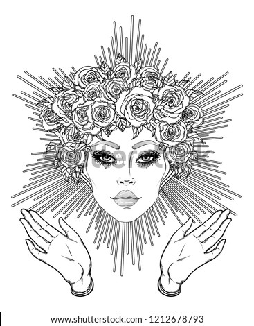 Madonna, Lady of Sorrow. Devotion to the Immaculate Heart of Blessed Virgin Mary, Queen of Heaven. Vector illustration isolated on white. Coloring book for adults. Tattoo design.