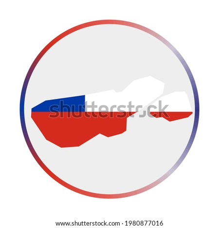 Madre de Dios Island icon. Shape of the map with Madre de Dios Island flag. Round sign with flag colors gradient ring. Superb vector illustration. Foto stock ©