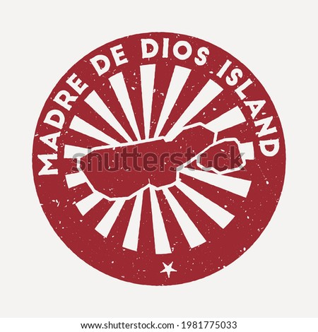Madre de Dios Island stamp. Travel red rubber stamp with border shape, vector illustration. Can be used as insignia, logotype, label, sticker or badge of the Madre de Dios Island. Foto stock ©