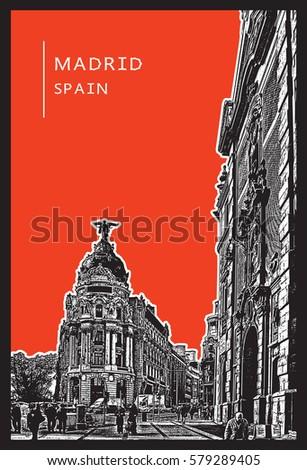 madrid  spain urban scene with