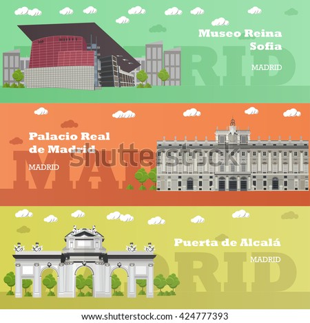 madrid tourist landmark banners