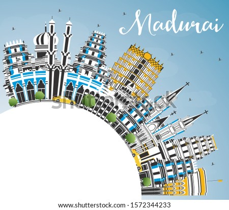 Madurai India City Skyline with Color Buildings, Blue Sky and Copy Space. Vector Illustration. Business Travel and Concept with Historic Architecture. Madurai Cityscape with Landmarks.