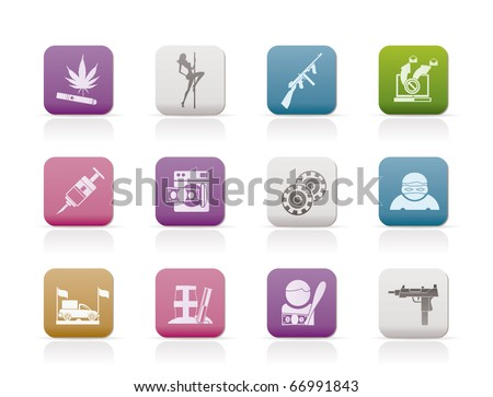 mafia and organized criminality activity icons - vector icon set