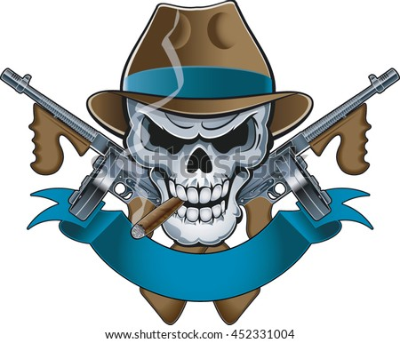 mafia gangster skull with