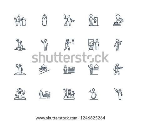Mafia, Graduated, Electrician, Actuary, dj, Cooker, Mathematician, Software Developer, Archeologist, Telemarketer, Lumberjack outline vector icons from 20 set