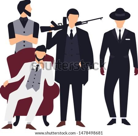 mafia group 4 man illustration