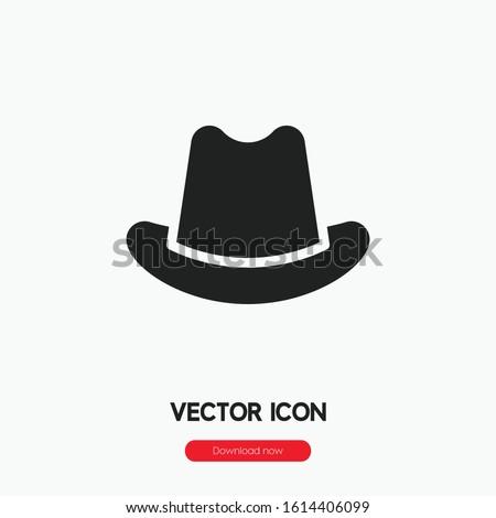 Mafia hat icon vector. Mafia hat symbol. Linear style sign for mobile concept and web design. Mafia hat symbol illustration. Pixel vector graphics - Vector.