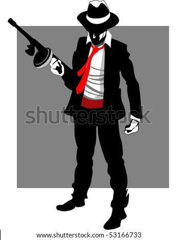 Mafia hitman with gun