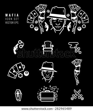 mafia icon set gangster design