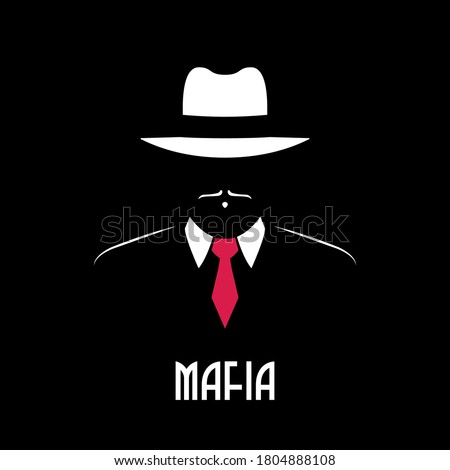 Mafia man silhouette. Vector emblem for male store, a barber shop, gentleman club. Gangster in hat and red tie. Stock illustration. Stock photo ©