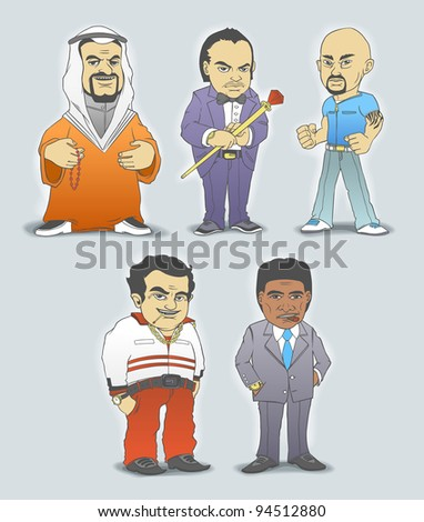 Mafia members. Vector illustration.