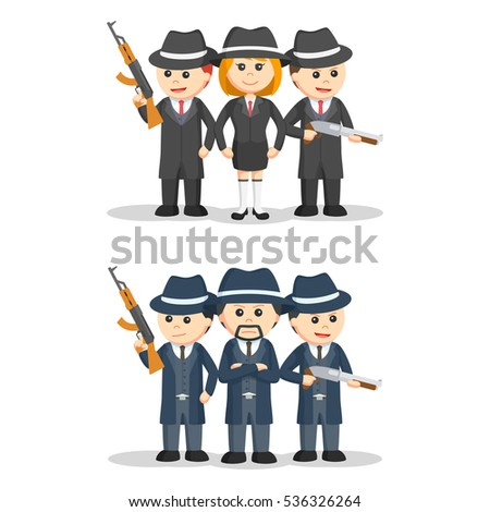 mafia people set illustration