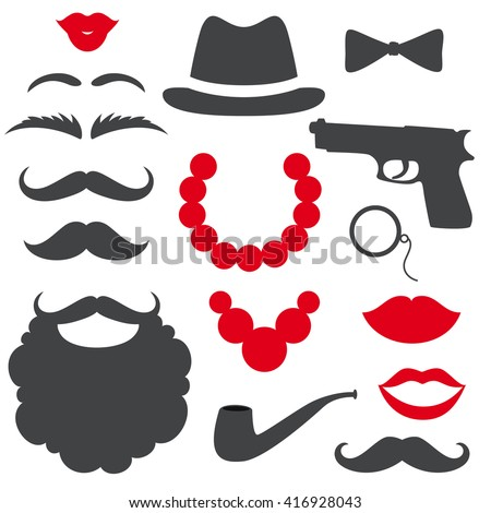 Mafia photo booth props set. Party gangster birthday. Hat, mustache, beard, lips,beads, gun, bow tie, tube. Vector illustration