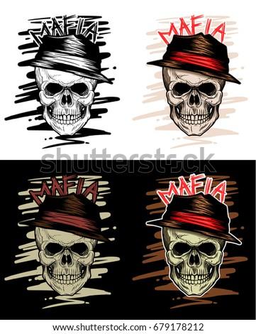 mafia skull head  gangster