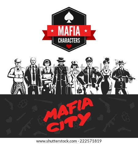 Mafia vintage people professions uniform abstract portrait silhouettes concept. Gangsters policeman teacher doctor killer. Noir style  collection.