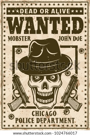 mafia wanted poster in vintage