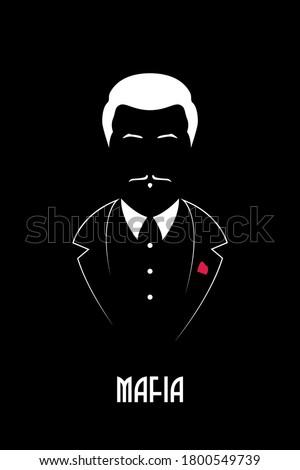 Mafioso boss with mustache and tuxedo. Portrait of the Italian Mafia. Black and white vector illustration.