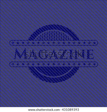 Magazine badge with denim texture