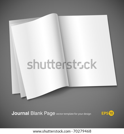 Magazine blank page template for design layout. Vector illustration on gray background. eps10 - stock vector
