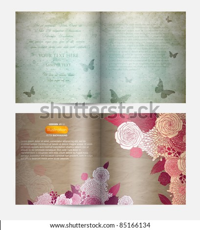 Magazine blank page template with butterfly and flowers