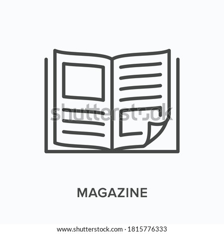 Magazine flat line icon. Vector outline illustration of news brochure, catalog page. Latest press thin linear pictogram. Сток-фото ©