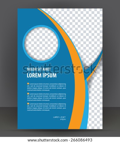 Magazine, flyer, brochure, cover layout design print template, blue vector Illustration
