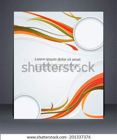 Magazine flyer, brochure or cover layout design template with colorful stripes