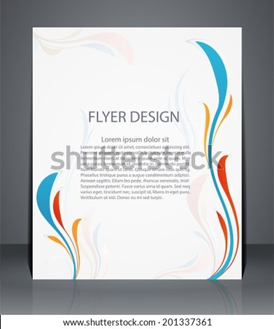 Magazine flyer, brochure or cover layout design template with floral pattern