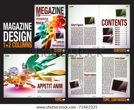 stock vector : Magazine Layout Design Template with Cover + 6 pages (3