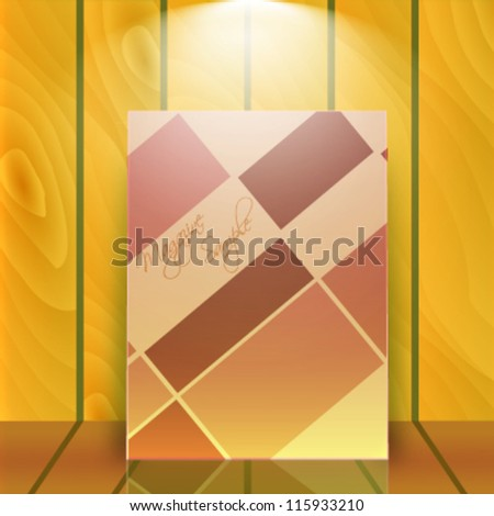 Magazine sample over realistic wooden wall