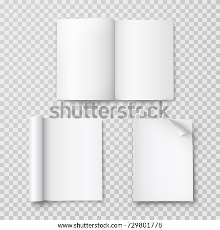 Magazine set isolated on transparent background. Vector open blank book, catalog or brochure with turned sheets mock up. Magazines with rolled white paper pages mockup.