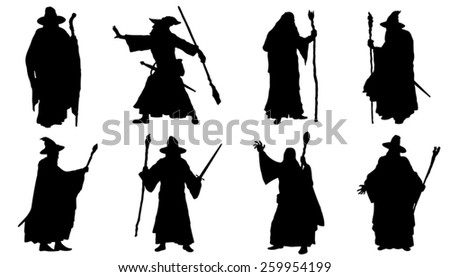 mage silhouettes on the white