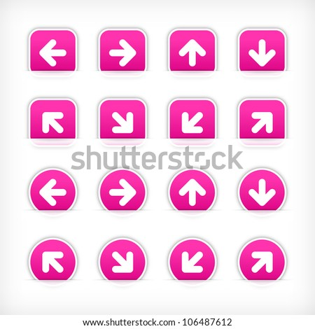 Magenta arrow sign sticker on cut paper pocket. Web button blank satin circles and rounded square shapes with gray drop shadow on white background. This vector illustration design element 10 eps