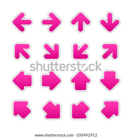 Magenta arrow sign sticker web button. Blank satin shapes with gray drop shadow on white background. Vector illustration saved in EPS 10.
