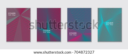 Magenta, blue and gray halftone angles vector cover template with lines. Tech background, title places. Vector journal design covers geometric shape background set, halftone lines hipster abstract set
