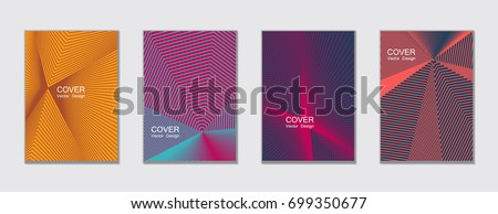 Magenta, blue and yellow halftone vector cover template with lines. Title places. Vector journal design covers geometric shape background set, halftone lines hipster pattern abstract collection.