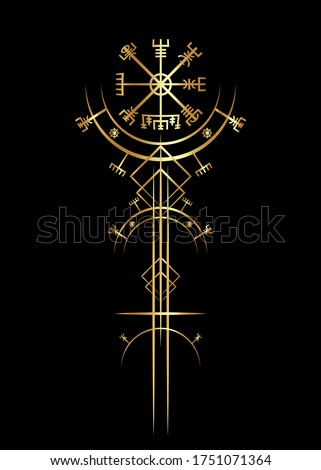 Magic ancient viking art deco, Golden Vegvisir magic navigation compass. The Vikings used many symbols in accordance to Norse mythology,  widely used in Viking society. Logo icon Wiccan esoteric sign