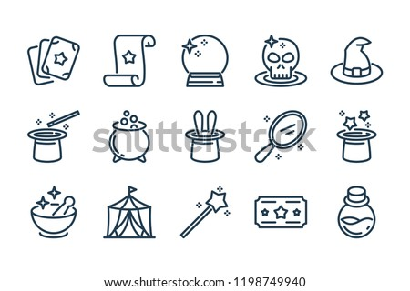 Magic and Circus related line icon set. Magical stuff linear vector icons.