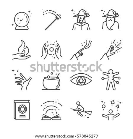 magic and spell line icon set