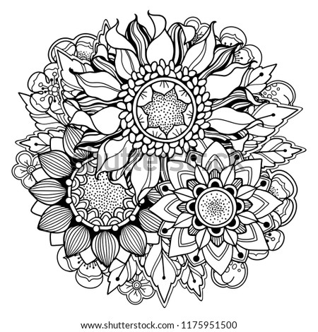 Magic autumn composition in doodle style. Floral, ornate, tribal, decor design elements. Black and white background. Sunflowers and leaves. Zentangle coloring book page