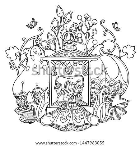 Magic autumn harvest composition in doodle style. Floral, ornate, decorative, sweets design elements. Black and white background. Lamp with a candle, pumpkin, berries. Zentangle coloring book page