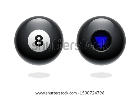 Magic ball of predictions for decision-making. Realistic black sphere. Magic 8 ball set. Eight ball. Glossy shiny ball with number 8. Billiard game. Vector illustration. Transparent background.
