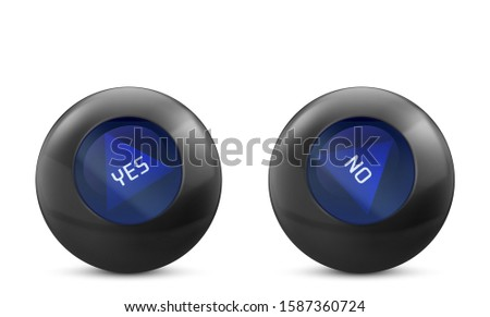 Magic ball of predictions for decision-making with Yes and No answer. Forecast oracle for questions. Vector realistic black spheres with blue triangle isolated on white background