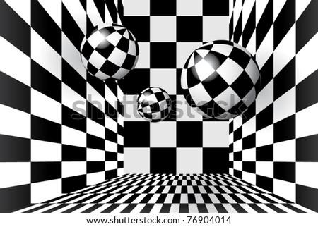 Magic balls in checkered room