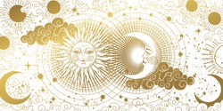 Magic banner for astrology, tarot, boho design. The universe, golden crescent, sun, and clouds on a white background. Esoteric vector illustration, pattern