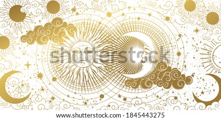 Magic banner for astrology, tarot, boho design. The universe, golden crescent, sun, and clouds on a white background. Esoteric vector illustration, pattern Foto d'archivio ©