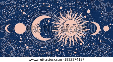 Magic banner for astrology, tarot, boho design. Universe art, crescent moon and sun on a blue background. Esoteric vector illustration, pattern Stock photo ©